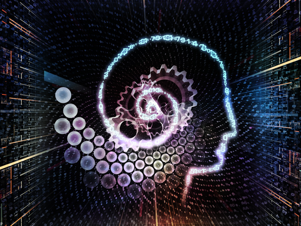 Interplay of outline of human head and symbolic elements on the subject of knowledge, science, technology and education